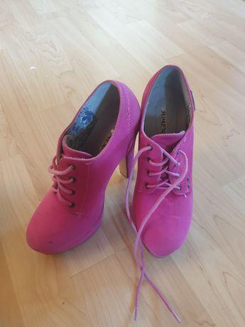 Buty wysokie różowe, botki, lity,