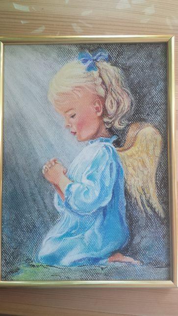 Obraz Aniołek malowany ręcznie prezent na chrzest roczek komunię