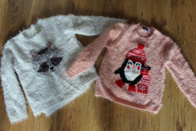 2x sweterek ZARA LUPILU 122 puchaty sweter ciepły r 110 116