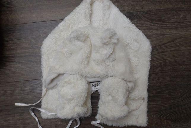 Czapak szalik rękawiczki komplet miś misiu 1-2-3 lata
