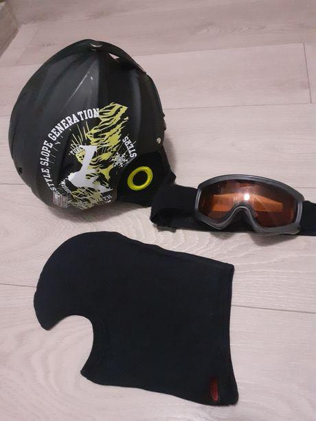 Kask narciarski Sportplus+ XS 48-52cm ok4-6lat kominiarka gogle
