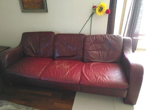 Skórzana sofa i dwa fotele