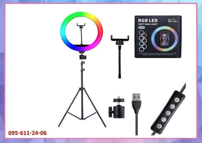 Кільцева селфи лампа Soft Ring Light MJ33 RGB 33 см з тримачем
