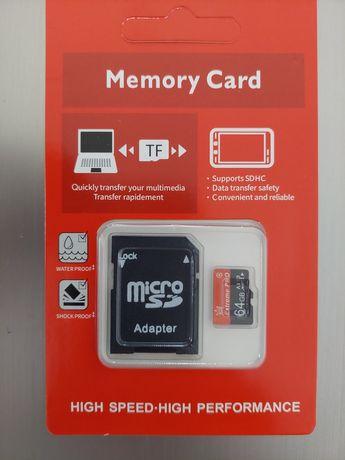 Cartão de memória micro sd 64gb novo com adaptador