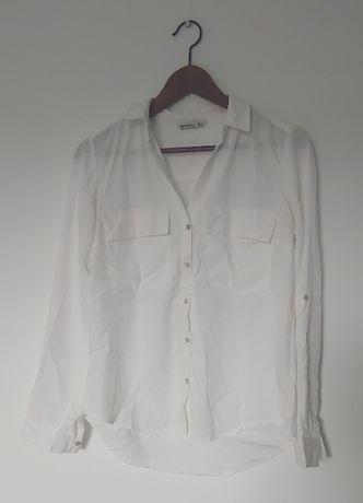 Bluzka koszula biała z kieszeniami damska
