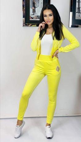 Komplet dresowy welurowy z kapturem w kolorze żółtym S'Moriss polska