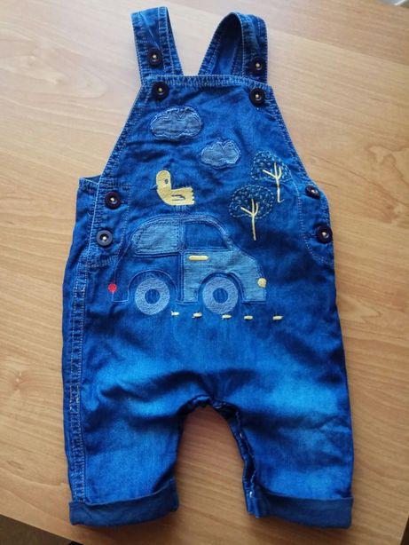 Spodnie ogrodniczki jeans dżinsowe 56 chłopięce na szelki regulowane