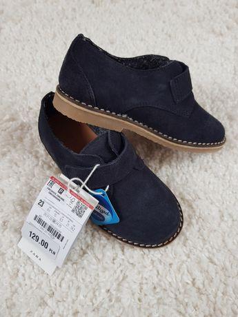 ZARA 23 nowe półbuty skórzane granatowe na rzep buty eleganckie