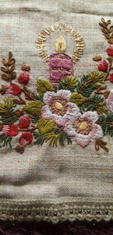 Stary haftowany obrus, serweta 95cmx95cm