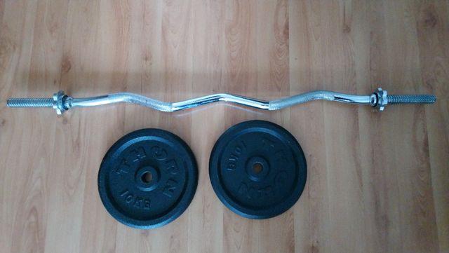 Gryf łamany + obciązenie 2x10kg