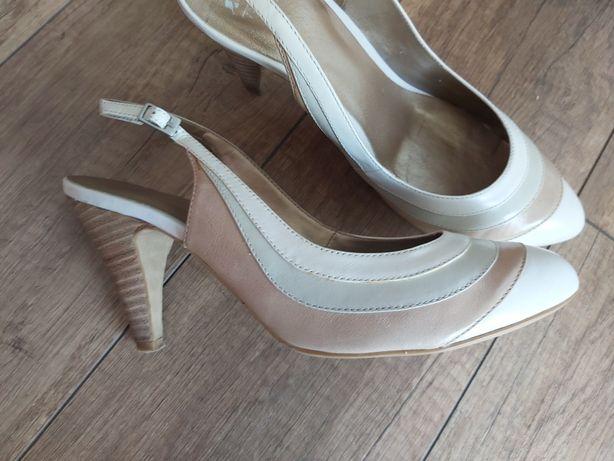 Skórzane buty damskie BATA rozm.38