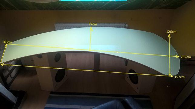 Biurko bardzo duży blat szklany z drewnem do biura do studia, gabinet