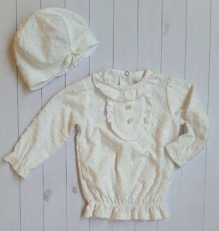 белый комплект кофточка+шапочка 6-7м