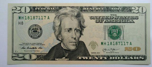 Купюра бона банкнота 20 долларов редкий интересный номер unc состояние