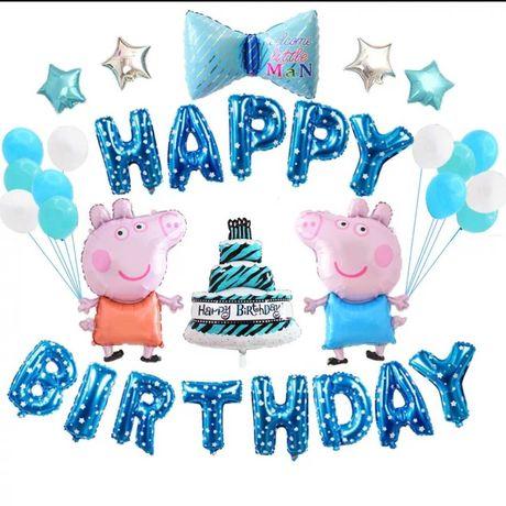 Balony urodzinowe Świnka Peppa. Duży zestaw, happy birthday Niebieskie