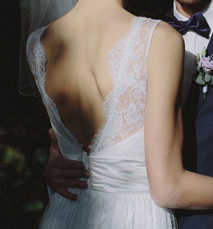 Romantyczna suknia ślubna, koronka francuska, rozmiar S