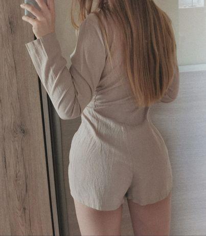 Beżowy beige kombinezon krótki jednoczęściowy strój spodenki koszula P