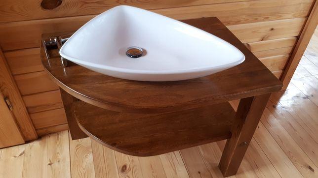 Narożna szafka dębowa z umywalką
