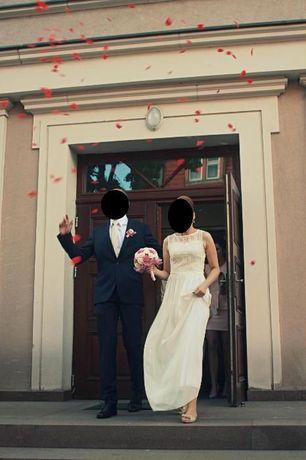 Tiulowa niepowtarzalna suknia ślubna koronkowa góra Piękna! XS/S
