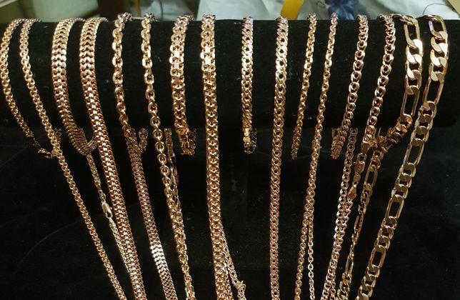 Комплект цепь +браслет,медицинское золото,якорное ,бисмарк,картье