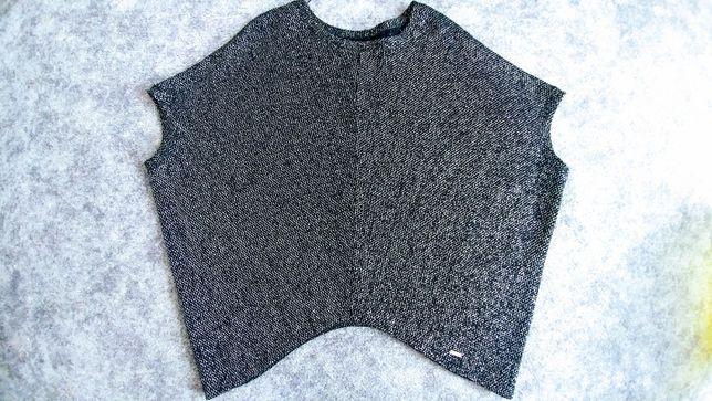 Bluzka tunika oversize srebrna nitka asymetryczna XXL XXXL czarna