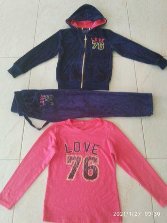 Dresy welurowe 3 części - spodnie bluza i bluzka