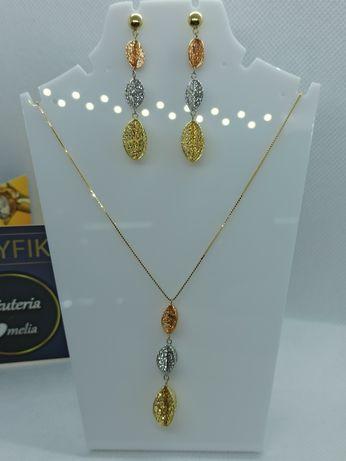 Kolczyki z naszyjnikiem w złocie próby 585 14 K łańcuszek 3 kolory zło