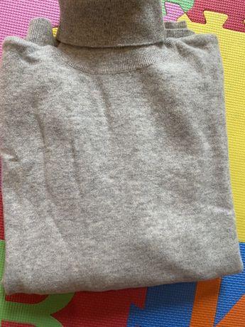 Szary golf sweter 80 wełna wełniany 40 L oversize