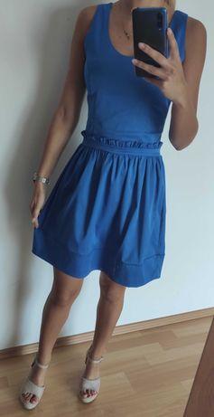 Sukienka rozkloszowana kobaltowa, chabrowa