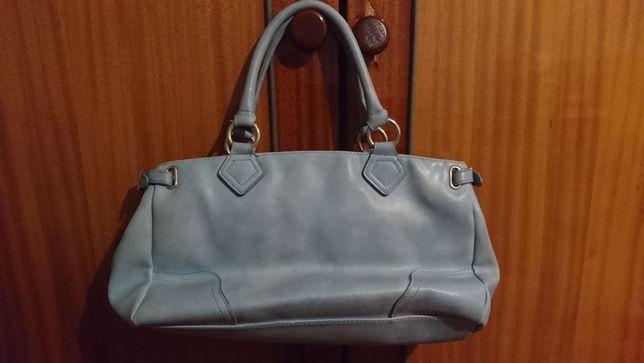 Голубая кожаная сумка (цвет незабудки)