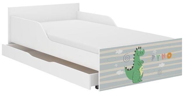 Łóżko młodzieżowe dziecięce PUFI 160x80 PROFILOWANY BOK materac+szufla