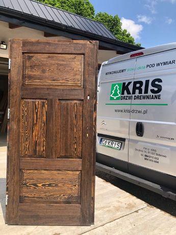 Drzwi zewnętrzne 5cm od ręki drewniane postarzane wiejskie SOSNA