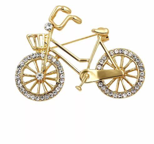 Broszka rower z cyrkoniami