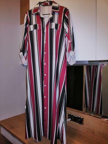 Sukienka w pasy L z paskiem