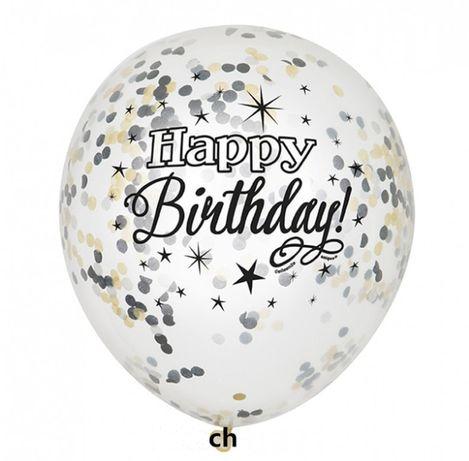 Balon Konfetti lub napis happy birthday Przeźroczysty Duży