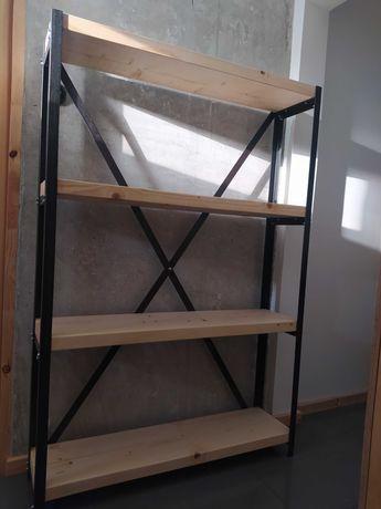Regał loftowy. Stal i drewno. Loft. Półki na książki