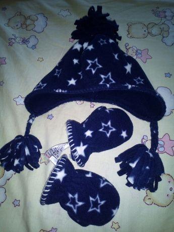 Флисовая шапка и рукавички next 6- 12 месяцев