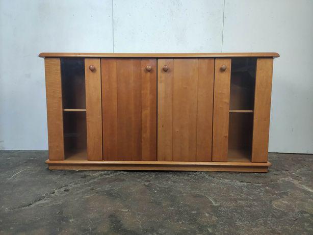 Drewniana szafka / komoda z witryną