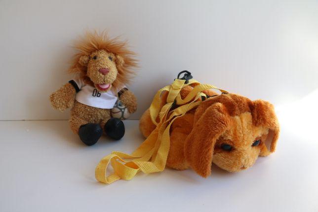 Мягкая игрушка лев-футболист и рюкзак плюшевый собака