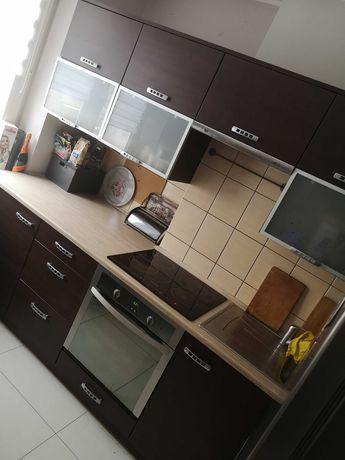Meble kuchenne ciemny brąz + płyta elektryczna piekarnik stół