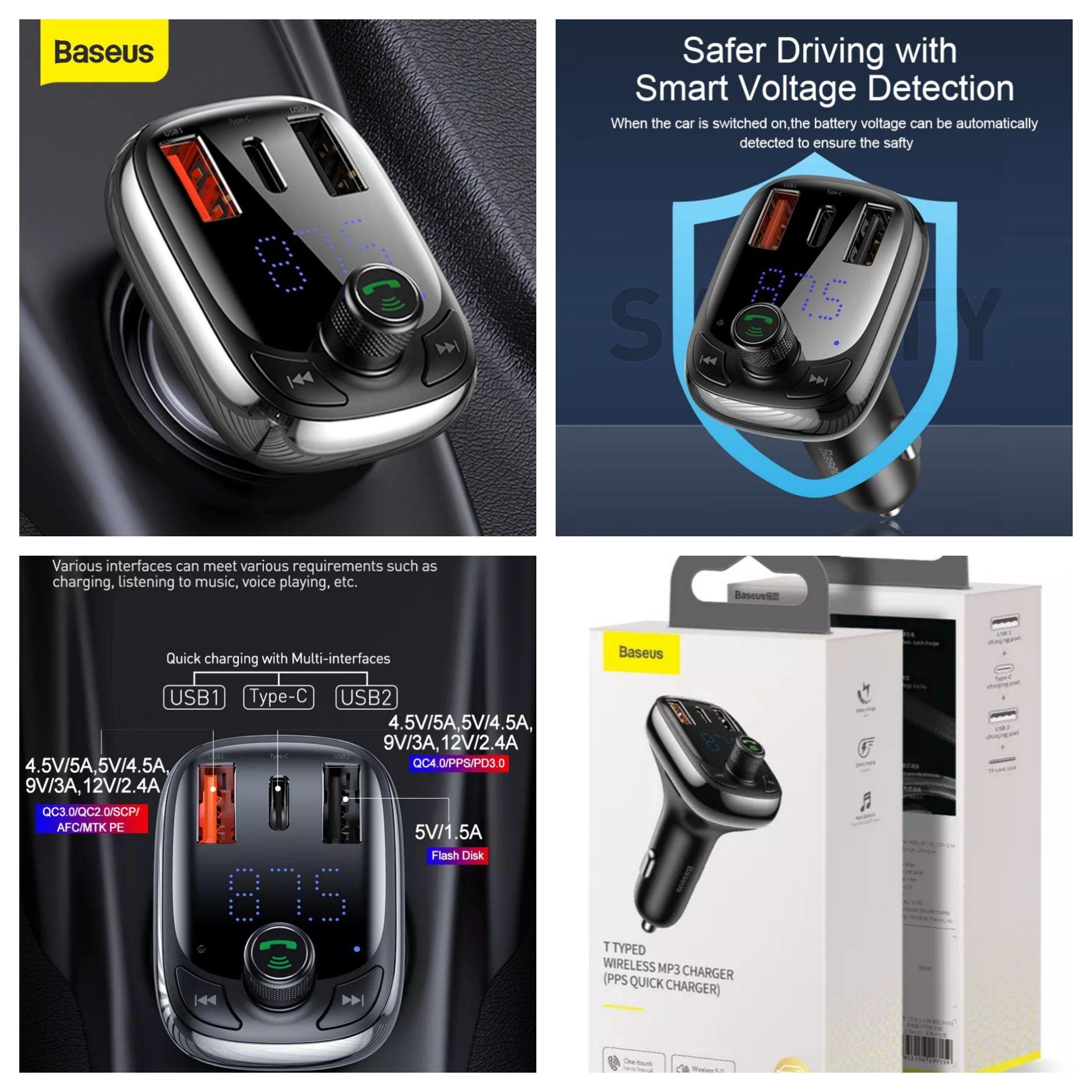 Carregador Smartphone MP3 / FM-transmissor P/ carro S-13 -Baseus-24
