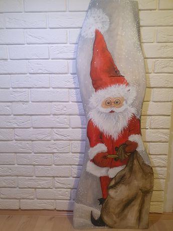 Św. Mikołaj krasnal malowany na desce, dekoracja świąteczna
