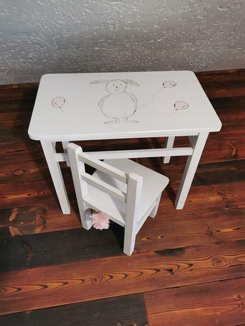 Stolik krzesło krzesełko dziecięce pokój dziecięcy ręcznie malowany