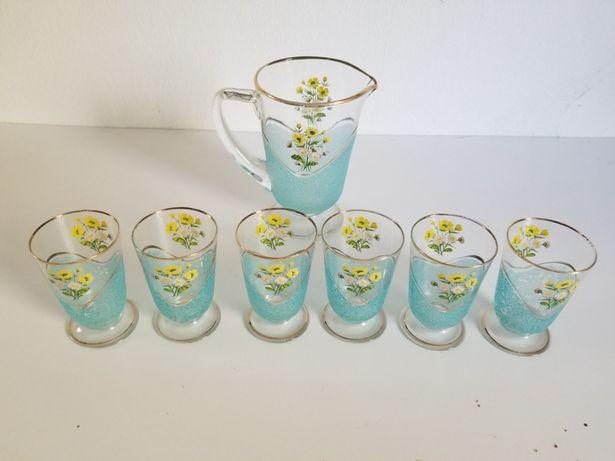 Conjunto de refresco - copos + jarra vintage