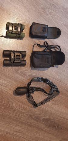 Trzy lornetki plus latarka czołowa