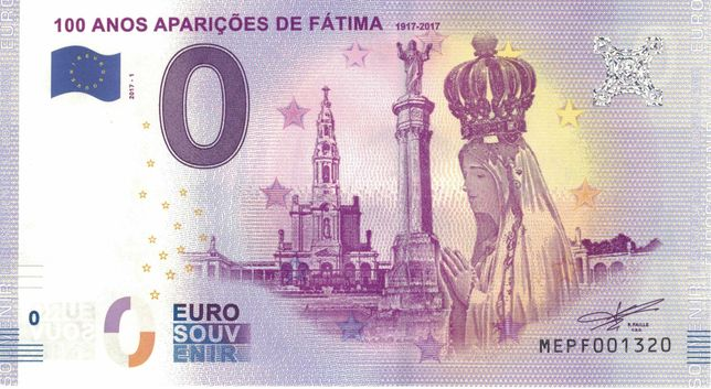 Nota zero euros (0€) Portugal 100 anos Aparições Fátima (MEPF) 2017-1