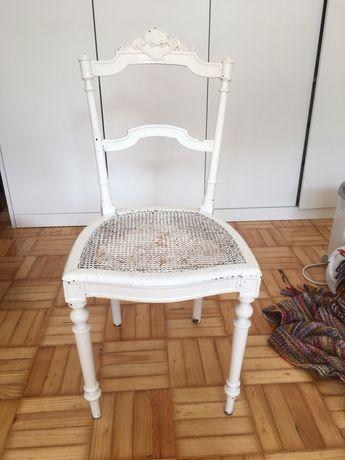 Cadeira palhinha madeira pintada branco