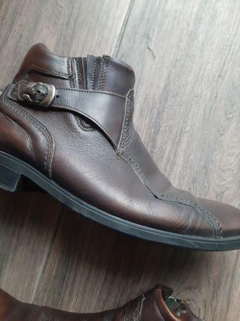 Buty męskie, skórzane, brązowe 40-41