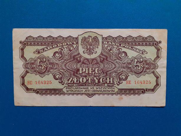 Banknot 5 złotych 1944, obowiązkOWYM, seria BE