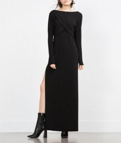 Zara nowa czarna sukienka maxi długi rękaw dekolt V plecy z rozcięciem